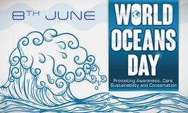 Волна нарисованная рукой с некоторыми заветами для Мировых океанов дня, иллюстрации вектора Стоковые Изображения