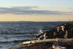 Волна на скалистом береге на заходе солнца стоковое фото rf