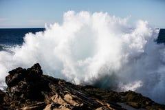 Волна Тихого океана разбивая на скалистом побережье Калифорнии Стоковые Фотографии RF