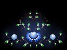 Волнистая картина голубых цветков на черном голубом основании иллюстрация графика феиэрверков eps10 предпосылки черная Стоковая Фотография RF