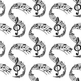 Волнистая музыка ударяет безшовную картину Стоковое Фото
