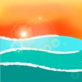 Волнистые заход солнца или восход солнца моря RGB с глобальными цветами Стоковое Фото