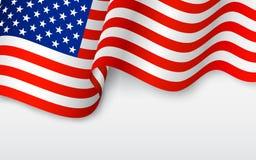 Волнистый американский флаг иллюстрация вектора