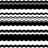 Волнистый зигзаг выравнивает repeatable картину - скачками PA monochrome Стоковые Изображения RF