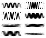 Волнистый, линии выравнивателя зигзага EQ Амплитуда, soundwave, частота иллюстрация вектора