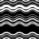 Волнистый, линии зигзага горизонтальные параллельные Абстрактное monochrome море иллюстрация штока