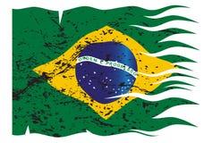 Волнистый флаг Grunged Бразилии Стоковая Фотография RF