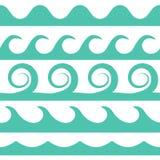 Волны бирюзы вектора установленные на белую предпосылку Стоковая Фотография RF