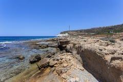 Волны и скала на запасе Rosh Hanikra Стоковое фото RF