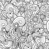 Волны конспекта и картина цветков нарисованная вручную безшовная Стоковая Фотография RF