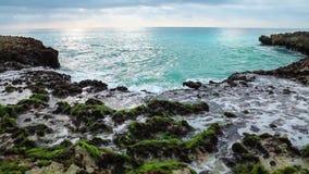 Волны океана ломая на береге рифа акции видеоматериалы