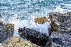 Волны ломая на береге с морем пенятся Стоковые Фото