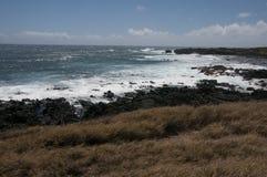 Волны разбивают на Ka Lae, также знают как южный пункт, Гаваи Стоковое Фото