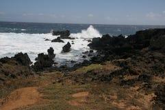 Волны разбивая на утесах на Ka Lae, также знают как южный пункт, Гаваи Стоковая Фотография RF