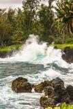 Волны разбивая против утесов, Мауи Стоковые Изображения RF