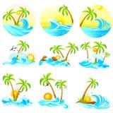 Волны с пальмой иллюстрация штока