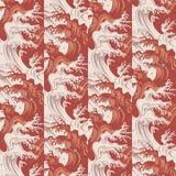 Волны японца и картина падений воды Стоковая Фотография