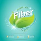 Волокно в еде уменьшает вектор ярлыка формы и концепции витамина Стоковая Фотография