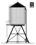 Водонапорная башня на крыше здания в Нью-Йорке Черный контур с чертежом деталей Стоковое фото RF