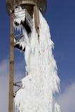 Водонапорная башня с замороженной водой Стоковая Фотография RF