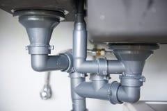 Водоотводная труба кухонной раковины стоковые изображения rf