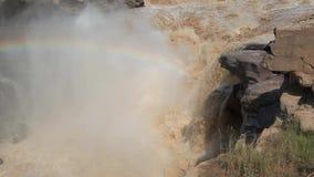 Водопад водопада- Hukou самый большой желтый в Китае сток-видео