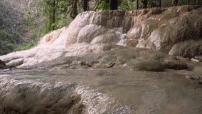 Водопад в естественных тропических джунглях - Таиланде 4K сток-видео
