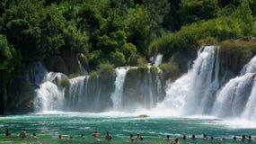Водопад в национальном парке Хорватии в KRKA Стоковые Фотографии RF