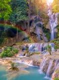 Водопад в дождевом лесе (водопадах Tat Kuang Si на praba Luang Стоковое Изображение