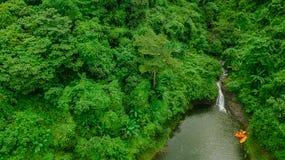 Водопад в середине взгляда глаза птицы леса, трутень Стоковые Изображения RF