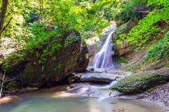 Водопад в темном лесе Стоковая Фотография