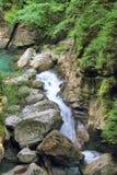 Водопад в ущелье Tolmin, Словении Стоковые Фото