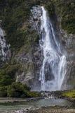 Водопад в Milford Sound Стоковые Изображения RF