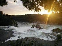 Водопад захода солнца стоковое фото rf