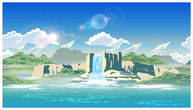 Водопад и гористые местности Стоковые Изображения RF