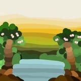 Водопад и лес в разнослоистой предпосылке Стоковое Изображение