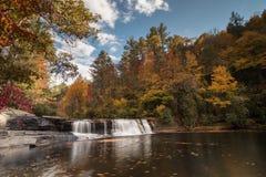 Водопад и лес осенью Стоковые Фотографии RF