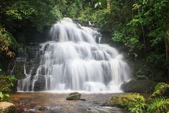 Водопад и утесы покрытые с мхом Стоковое Фото