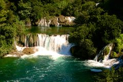 Водопад реки Krka в Хорватии Стоковые Изображения