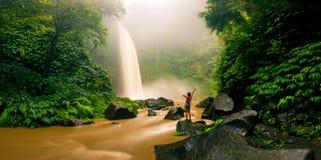 Водопад спрятанный в тропических джунглях Стоковое фото RF