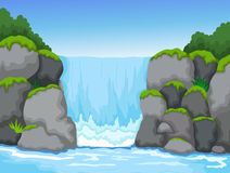 Водопад с предпосылкой взгляда ландшафта иллюстрация штока