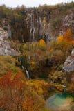 Водопады на озерах Plitvice в осени стоковое изображение rf
