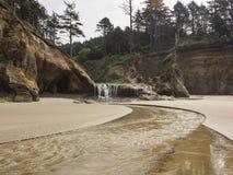 Водопады на пляже океана стоковое фото rf