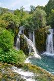 Водопады реки Una в Мартине Brod Стоковое Изображение RF