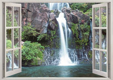 Водопад Cormoran, Остров Реюньон Стоковые Изображения