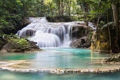 Водопад Erawan в Таиланде Стоковые Изображения