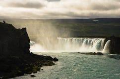 Водопад Godafoss или водопад богов, северная Исландия Стоковые Фотографии RF