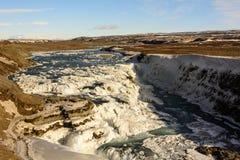 Водопад Gullfoss в зиме Стоковые Изображения