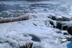 Водопад Hukou китайца замерзая в зиме Стоковое Изображение RF