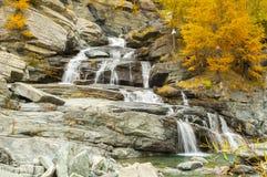 Водопад Lillaz в осени Стоковая Фотография RF